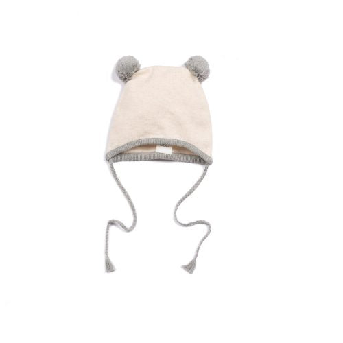 Grey Knit Pom Pom Hat - Blue Sage Baby + Kids