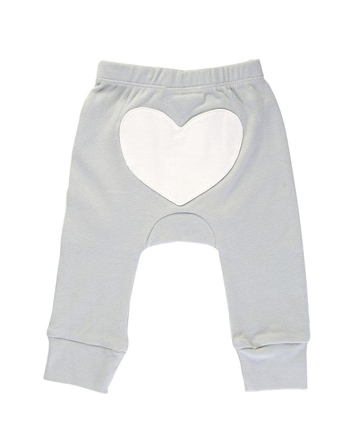 Dove Grey Heart Pants - Blue Sage Baby + Kids