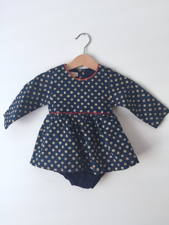 Embroidered Flower Short Dress - Blue Sage Baby + Kids