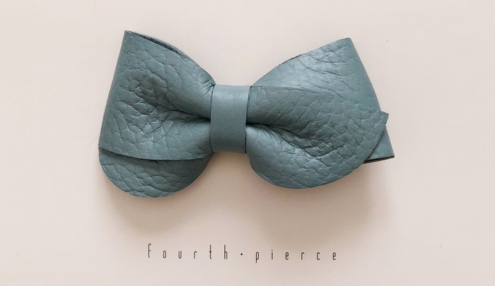 Emmie Leather Bow - Dew - Blue Sage Baby + Kids