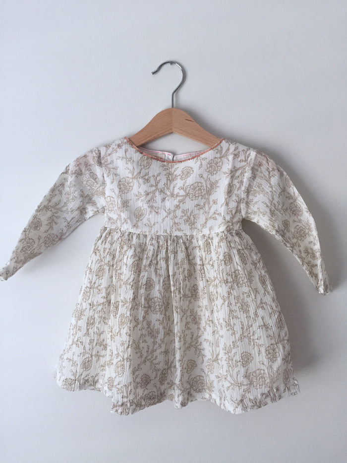 Floral Dress - Gold - Blue Sage Baby + Kids