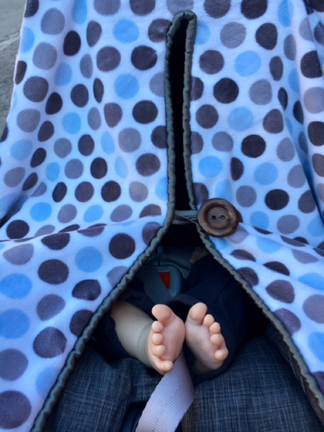 Baby Ethan's toes in Car Seat Cover