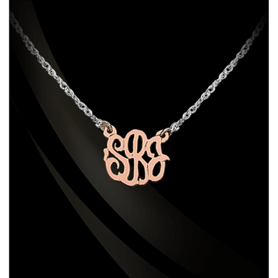 Necklace-Monogram 14K Gold Script on Sterling Silver Chain