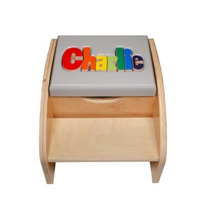 Two Step Name Puzzle Stool without Handles