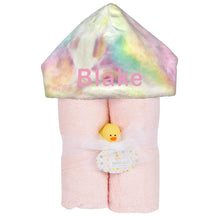 Plush Hooded Towel - Pink Towel with Pastel Rainbow Tie Dye