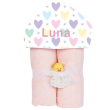 Plush Hooded Towel - Pastel Hearts and Stars