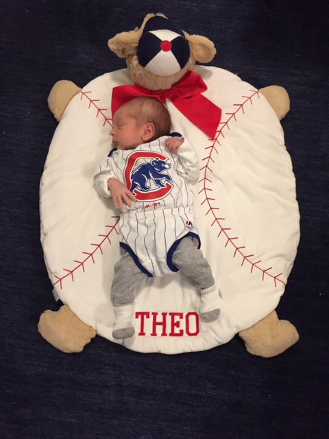 Baby Theo on Baseball Belly Blanket