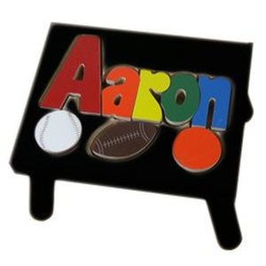 Step Stool (Black)- Puzzle Name with Sports