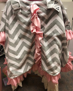 Car Seat Canopy- Grey Chevron with Pink Ruffle