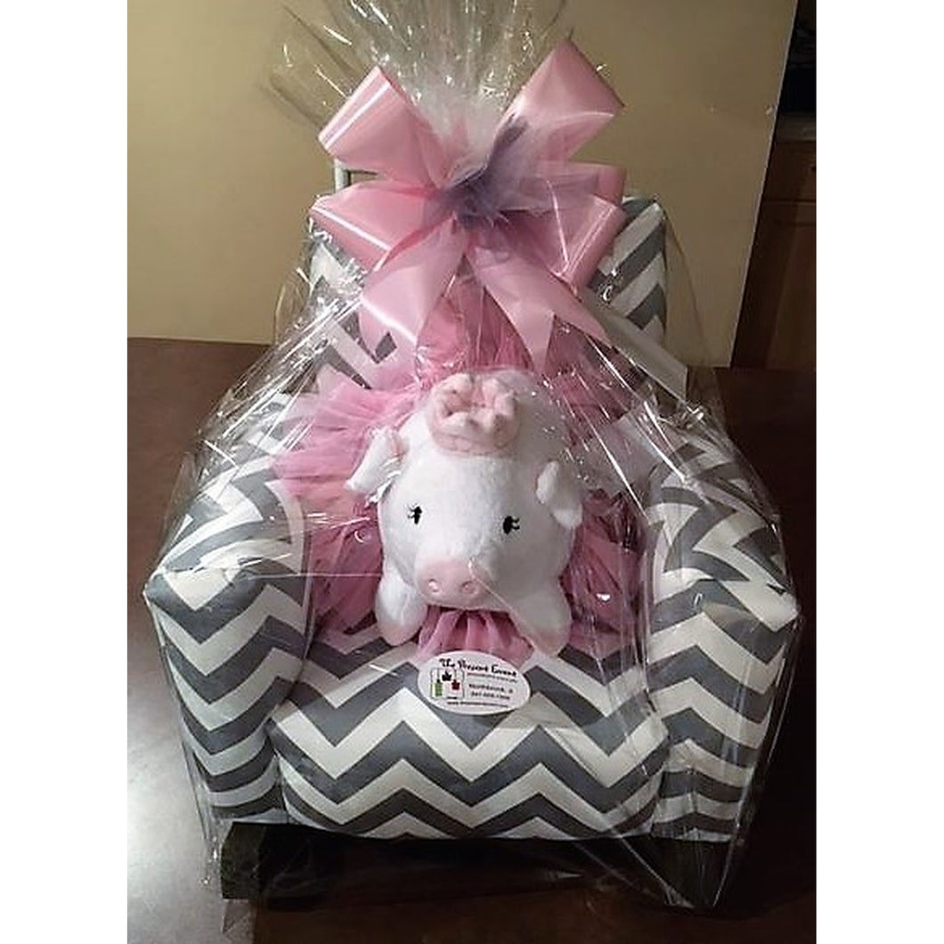 Upholstered Personalized Rocker Bundle with Pig wearing Tutu
