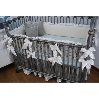 Crib Bedding-Aqua, Grey and Ivory