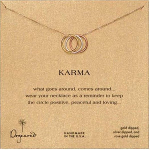 Necklace-Dogeared Triple Karma Ring Necklace, Mixed Metal