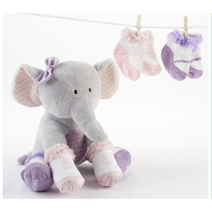 """Tootsies in Footsies"" Plush Elephant and Socks for Baby"