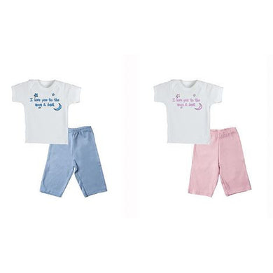 I Love You to the Moon & Back Pant Set Pink or Blue