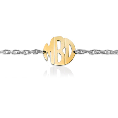 Bracelet-Gold Block Monogram on Sterling Silver