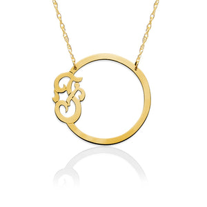 Necklace-Circle with Script Initial