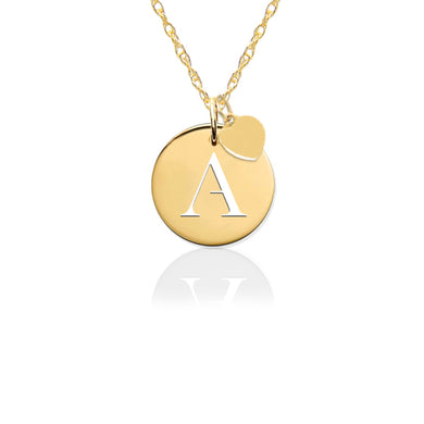 Necklace-Pierced Disc Initial Charm w Gold Heart