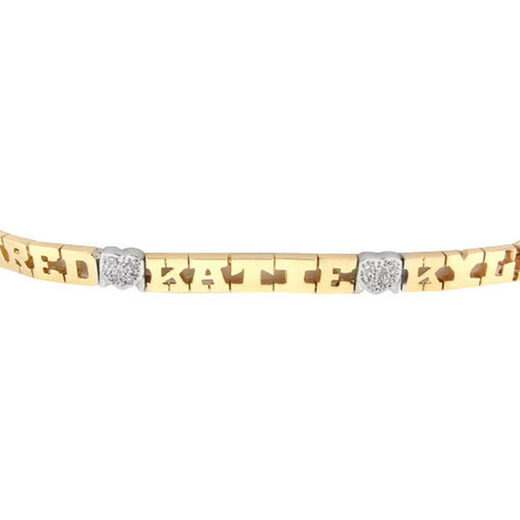 Bracelet-6 mm 14K Gold Family Name Bracelet - Letters with Diamond Heart Separators