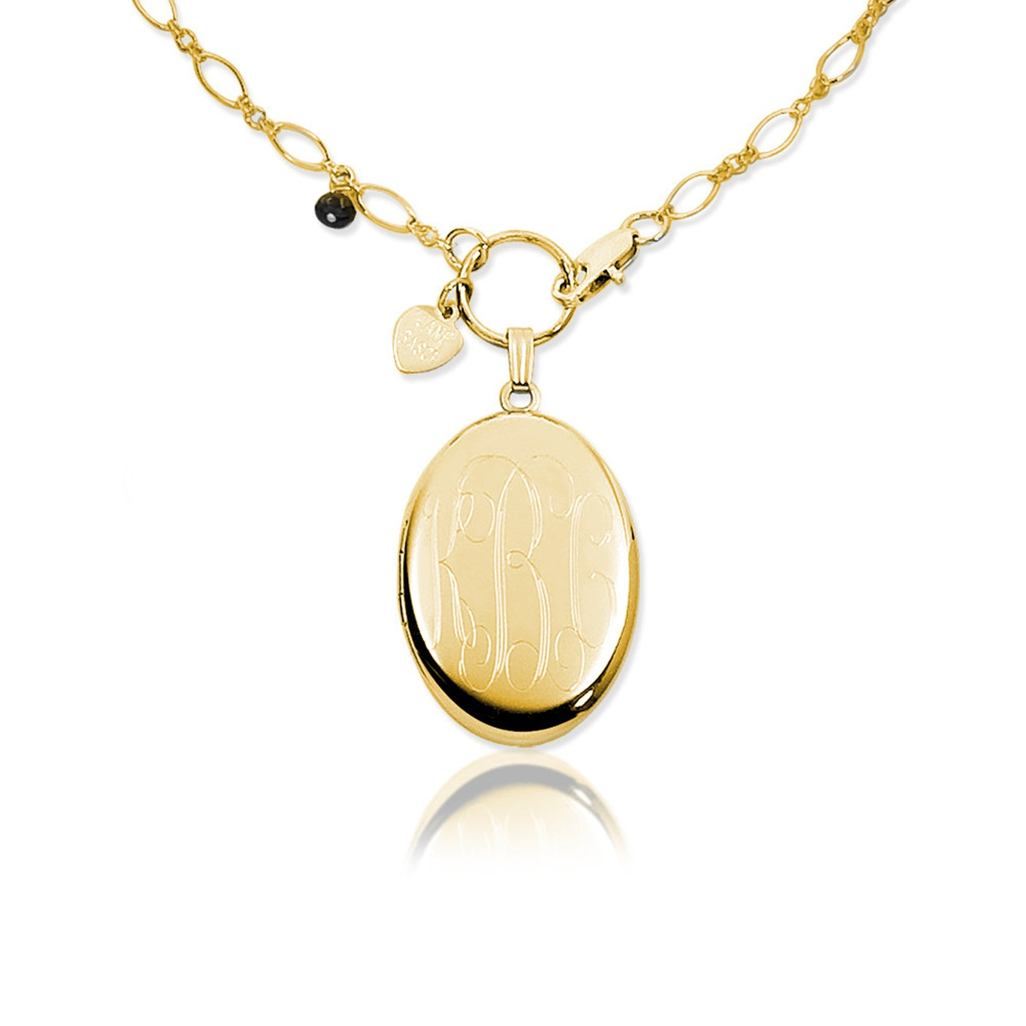 shiny w monogram fine devon jewelry gold finish woodhill modern small stars and white locket wg moon lockets