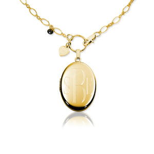 Necklace-Engraved Oval Monogram Locket
