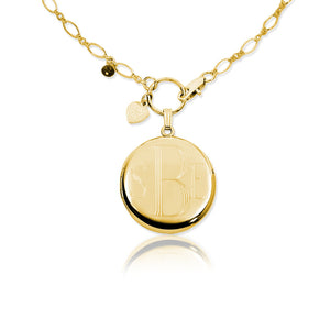 Necklace-Engraved Round Monogram Locket