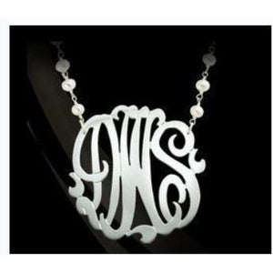 Necklace-Monogram with Pearl Chain