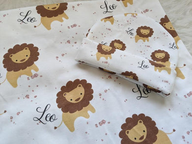 Personalized baby Swaddle and Hat/Headband Set-Leo The Lion