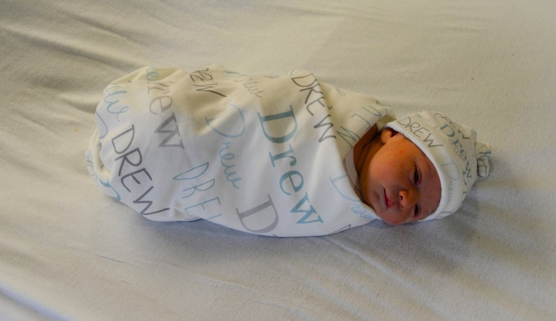 Personalized Supersoft Baby Swaddle and Hat Set