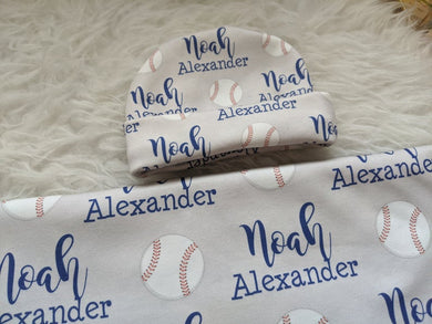 Personalized Super Soft Organic Baby Swaddle and Hat Set -Sports of All Sorts