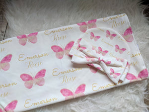 Personalized baby Swaddle and Hat/Headband Set- Butterfly Design