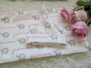 Personalized baby Swaddle and Hat/Headband Set-Elephants