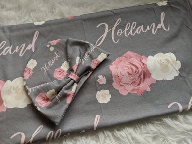 Personalized baby Swaddle and Hat/Headband Set Grey Rose