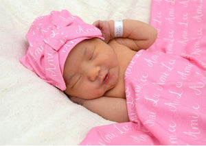 Personalized Supersoft Baby Swaddle and Hat Set- Names and Initials