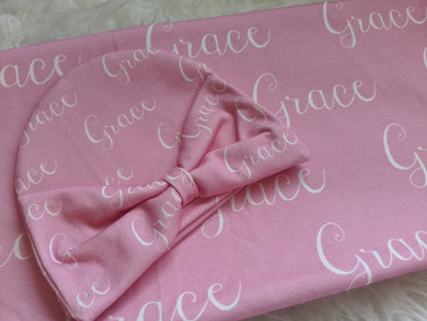 Personalized Supersoft Baby Swaddle and Hat Set- Pink Grace Name Blanket