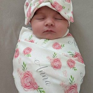 Personalized Baby Swaddle and Hat/Headband Set -floral rose