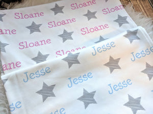 Personalized Supersoft Baby Swaddle and Hat Set-Stars