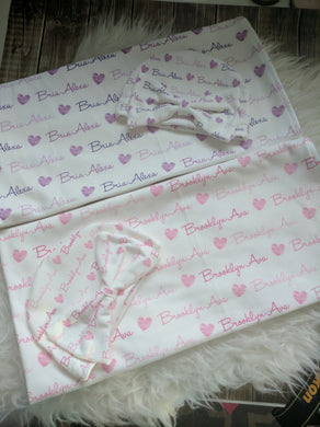 Personalized Baby Swaddle and Hat/Headband Set -Hearts