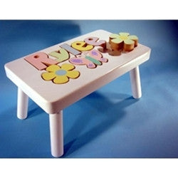 Step Stool- Flower/Butterfly Motif on White or Grey