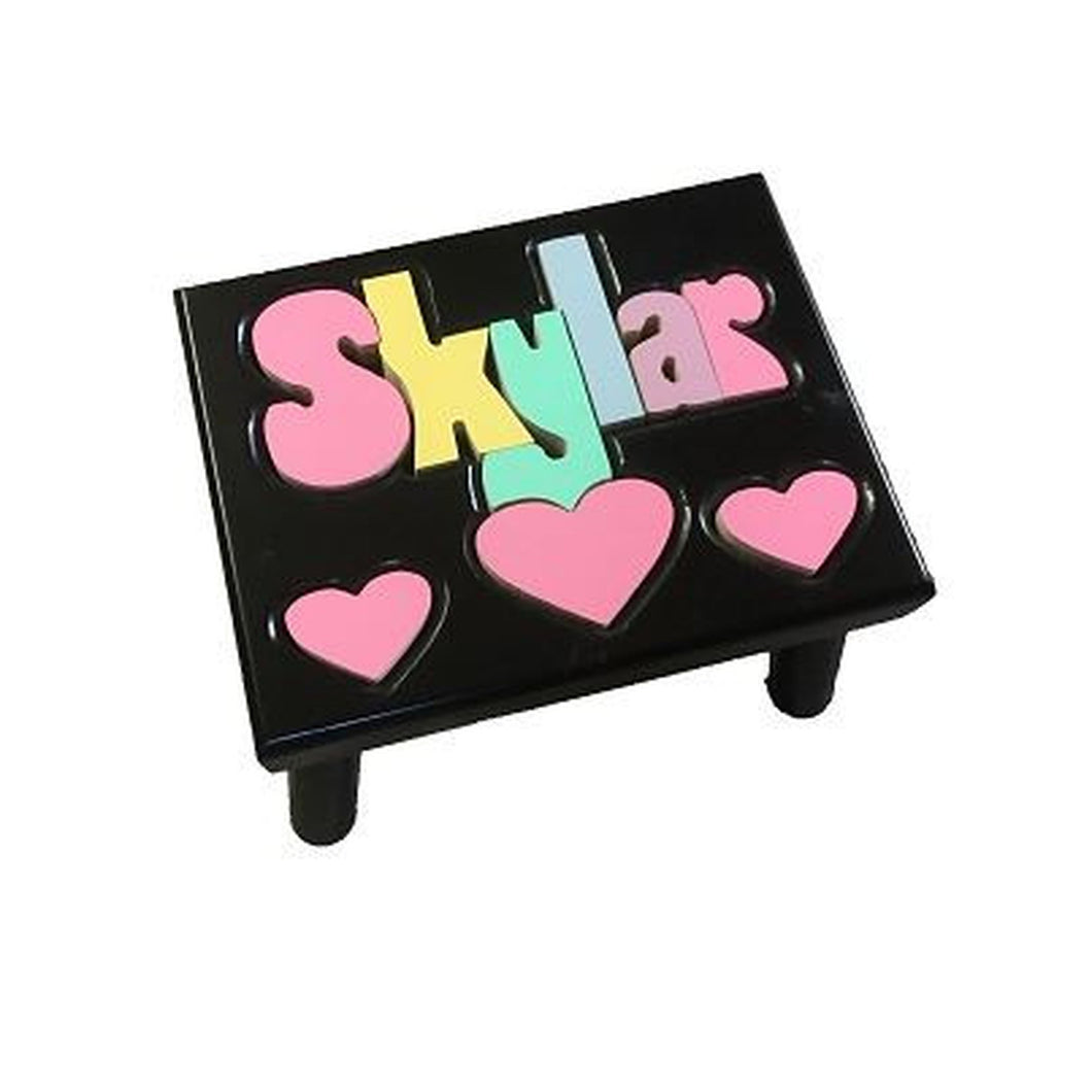 Step Stool (Black) -Puzzle Name with Hearts