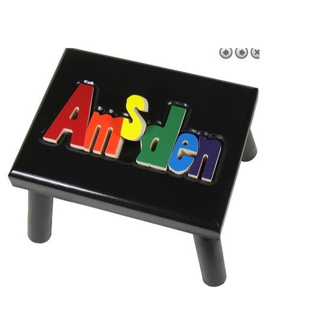 Black Step Stool- Name Puzzle