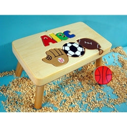 Step Stool- Sports Motif on Natural