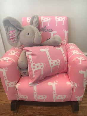 upholstered rocker for child with elephant