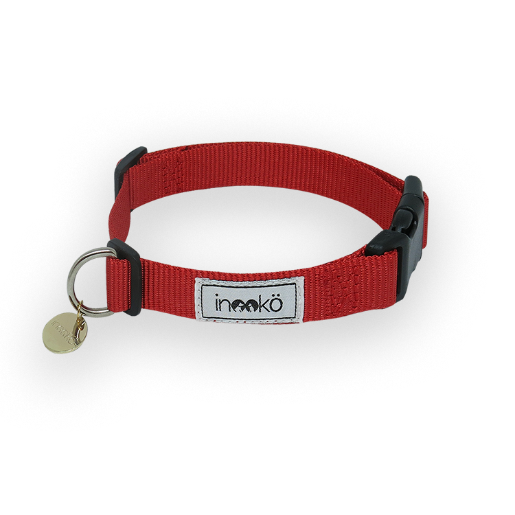 inooko - collier pour chiens ajustable rouge