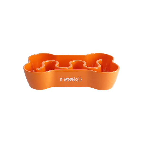 inooko - Gamelle anti-glouton en forme d'os, orange