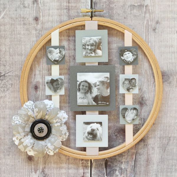 Repurposed Embroidery Hoop Photo Frame