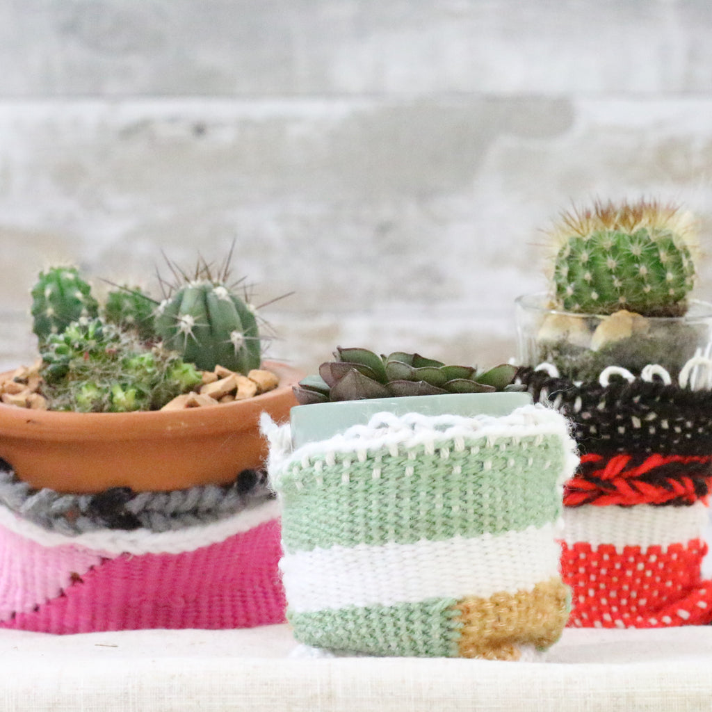 Woven plant pot cosies