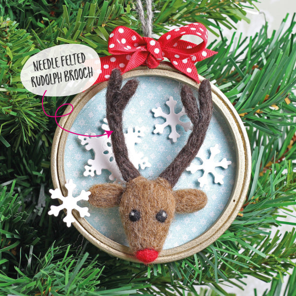 Needle Felted Rudolph Tree Decoration - Hawthorn Handmade