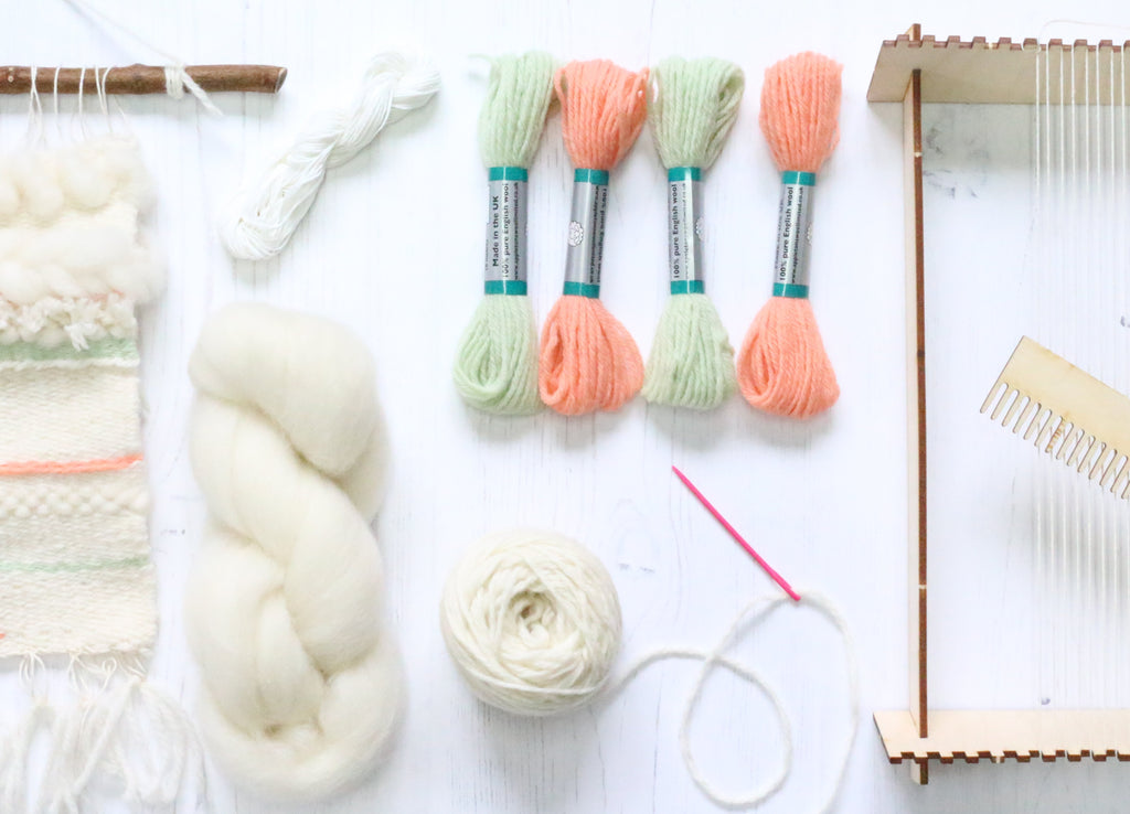 Complete Weaving Pack - Coral & Mint