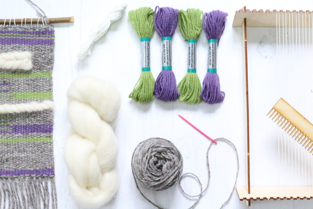 Complete Weaving Pack Heather & Moss with Loom