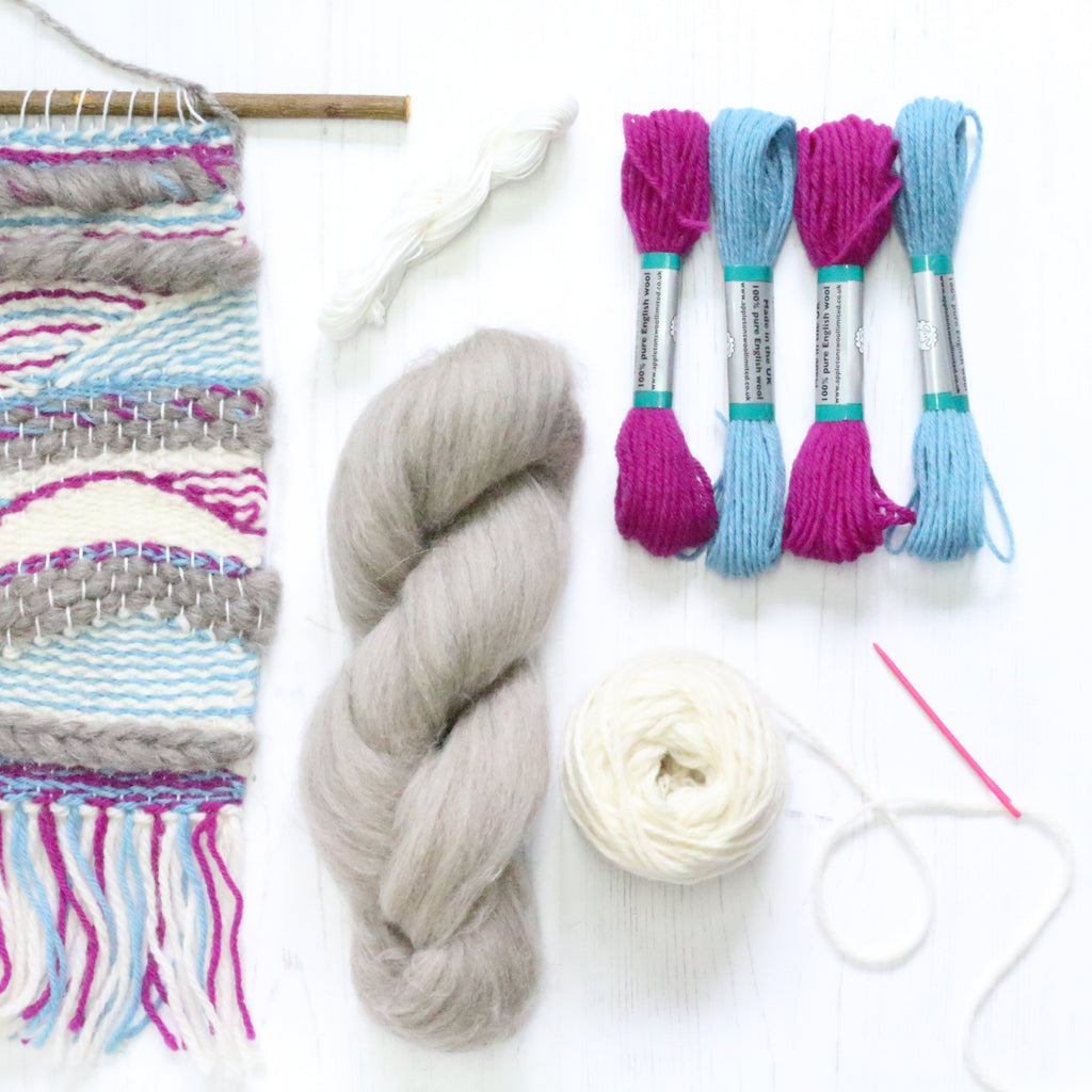 Weaving Ideas supply pack sky blue and fuchsia